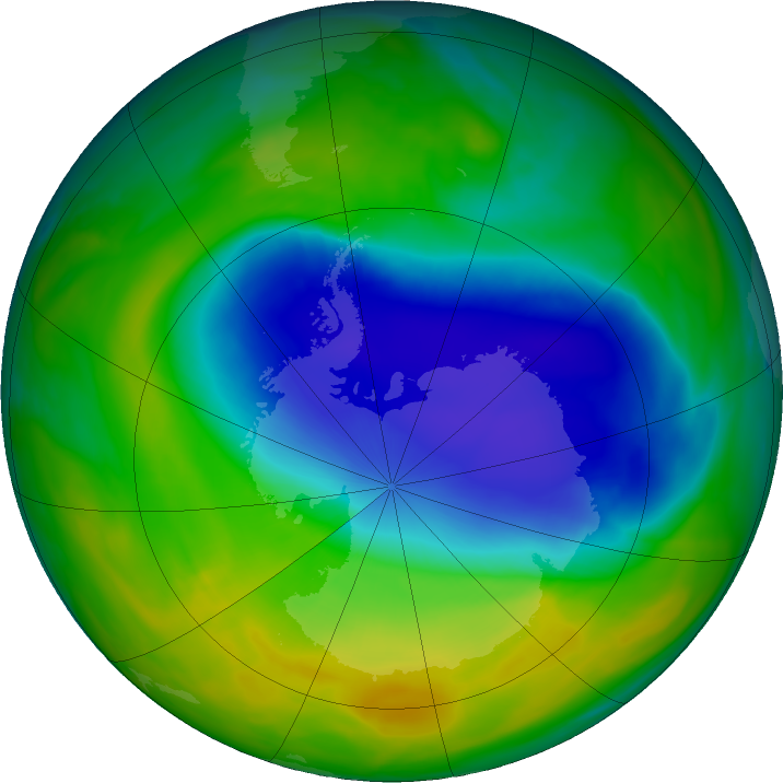 Antarctic ozone map for 03 November 2016