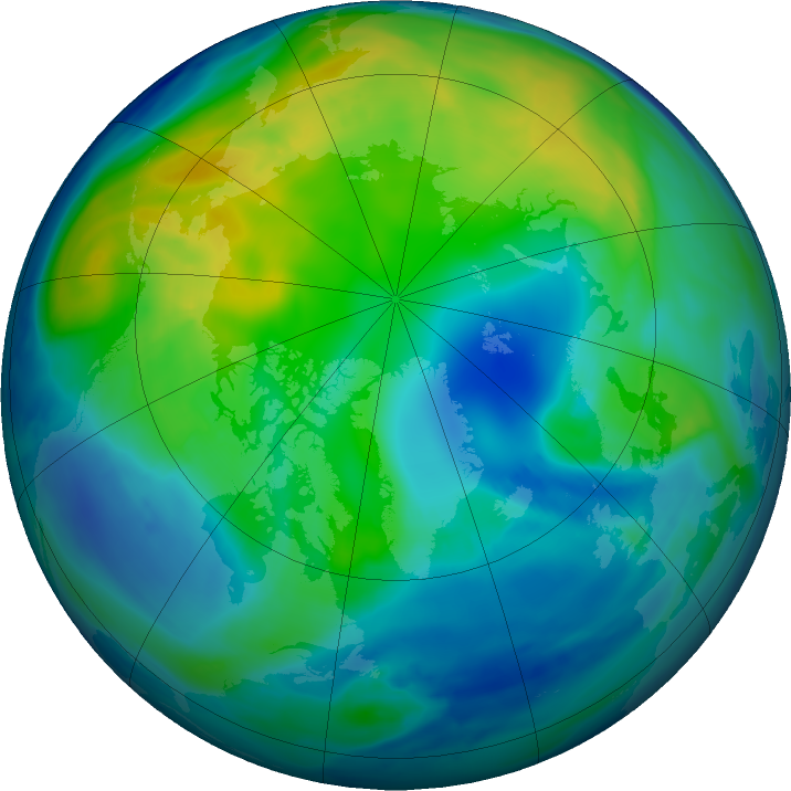Arctic ozone map for 09 November 2016