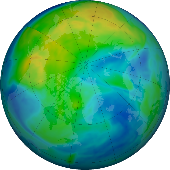 Arctic ozone map for 11 November 2016