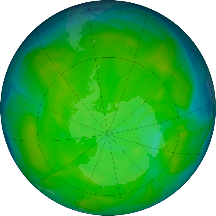 Antarctic ozone map for 02 December 2016