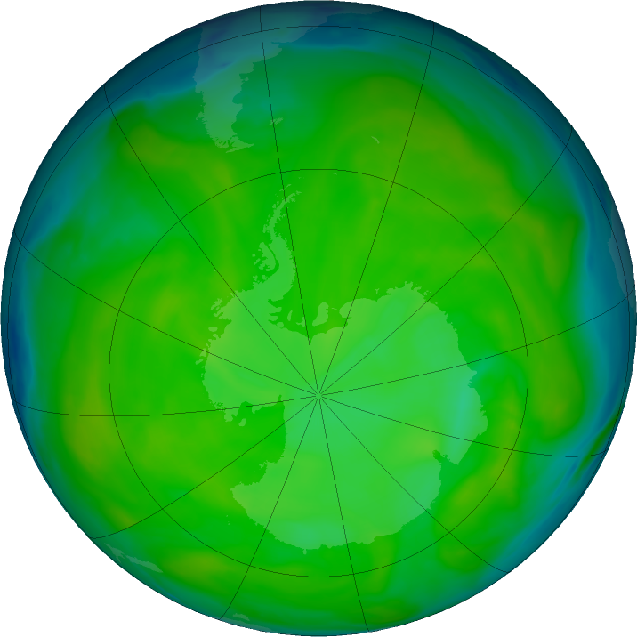 Antarctic ozone map for 03 December 2016