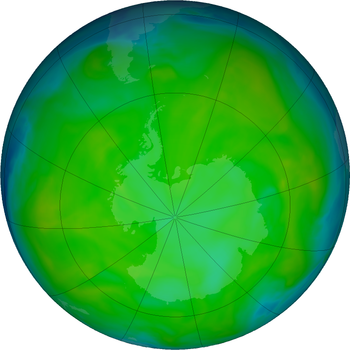 Antarctic ozone map for 04 December 2016