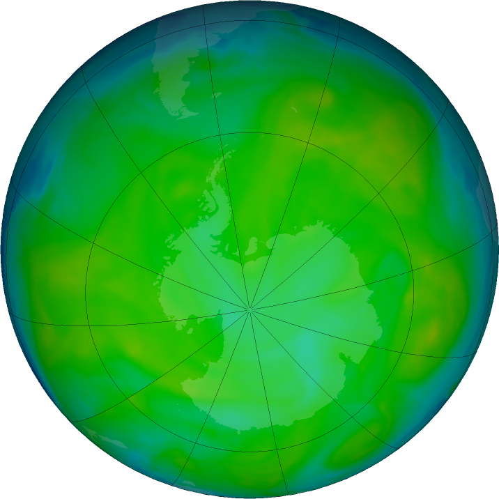 Antarctic ozone map for 05 December 2016