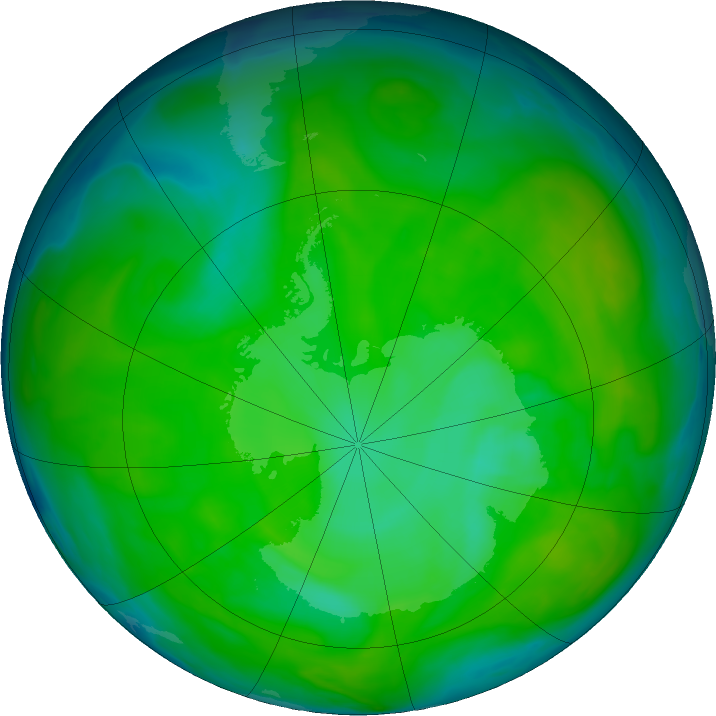 Antarctic ozone map for 07 December 2016