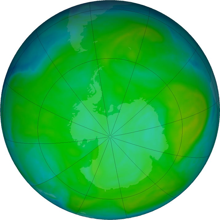 Antarctic ozone map for 09 December 2016