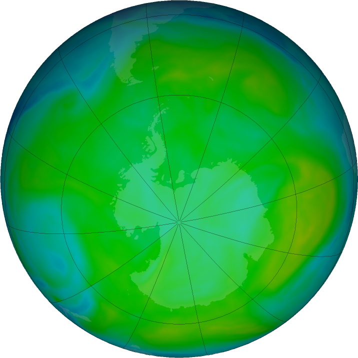 Antarctic ozone map for 10 December 2016
