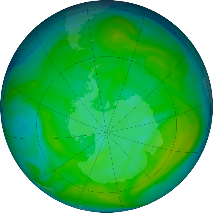 Antarctic ozone map for 11 December 2016