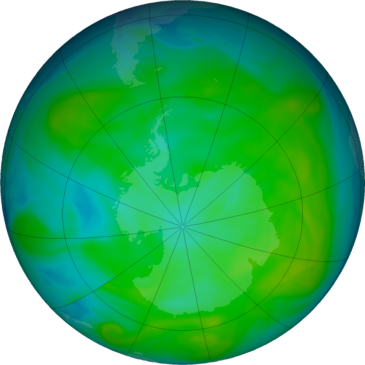 Antarctic ozone map for 18 December 2016