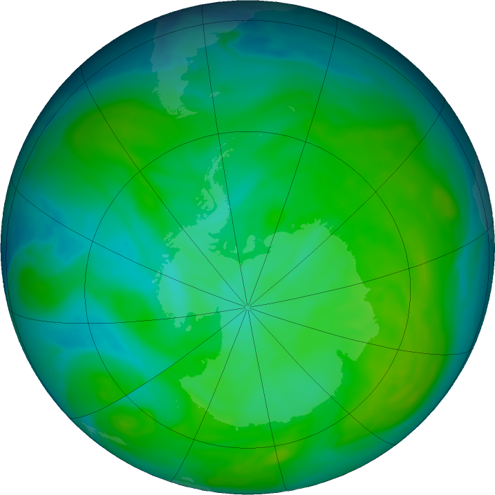 Antarctic ozone map for 19 December 2016