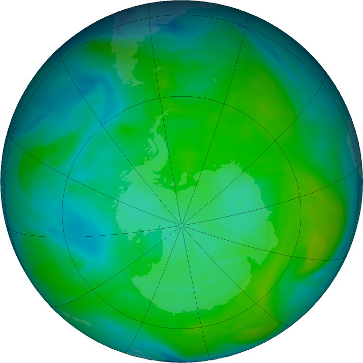 Antarctic ozone map for 25 December 2016