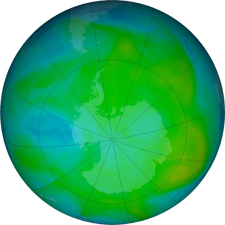 Antarctic ozone map for 26 December 2016