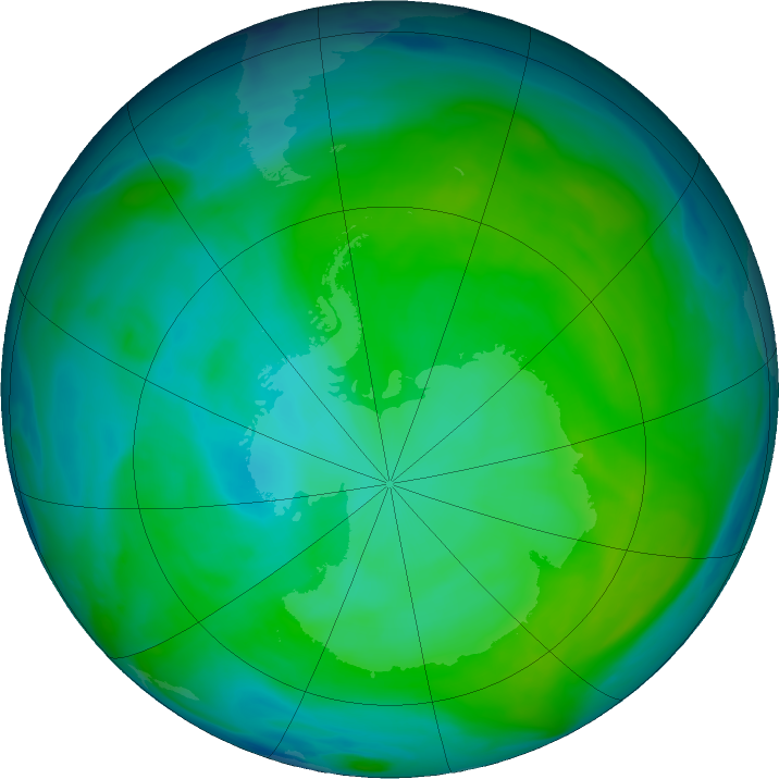Antarctic ozone map for 29 December 2016
