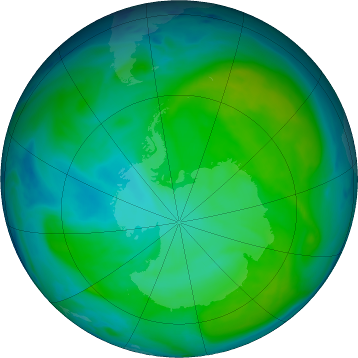 Antarctic ozone map for 31 December 2016