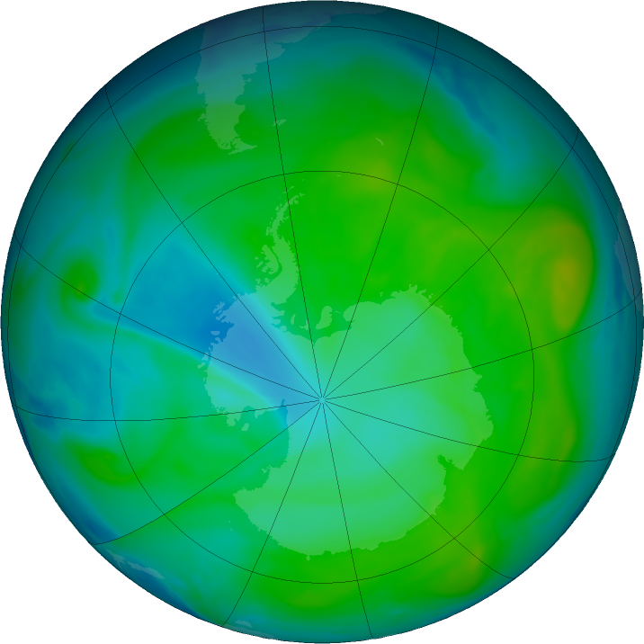 Antarctic ozone map for 02 January 2017