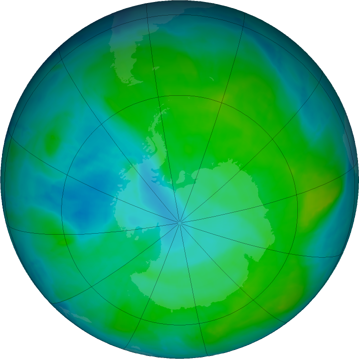 Antarctic ozone map for 03 January 2017