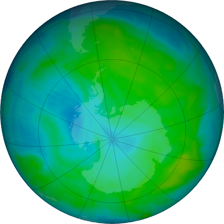 Antarctic ozone map for 05 January 2017