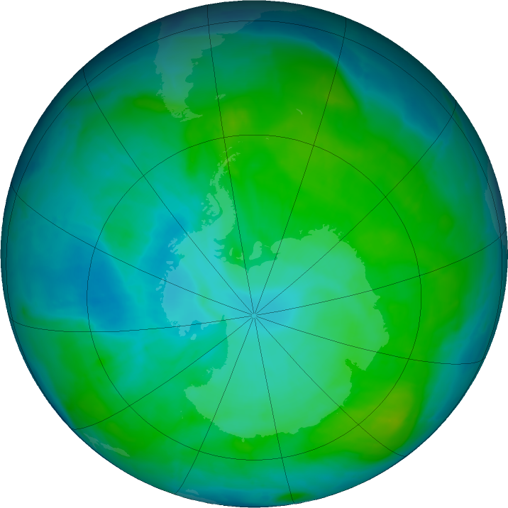 Antarctic ozone map for 06 January 2017