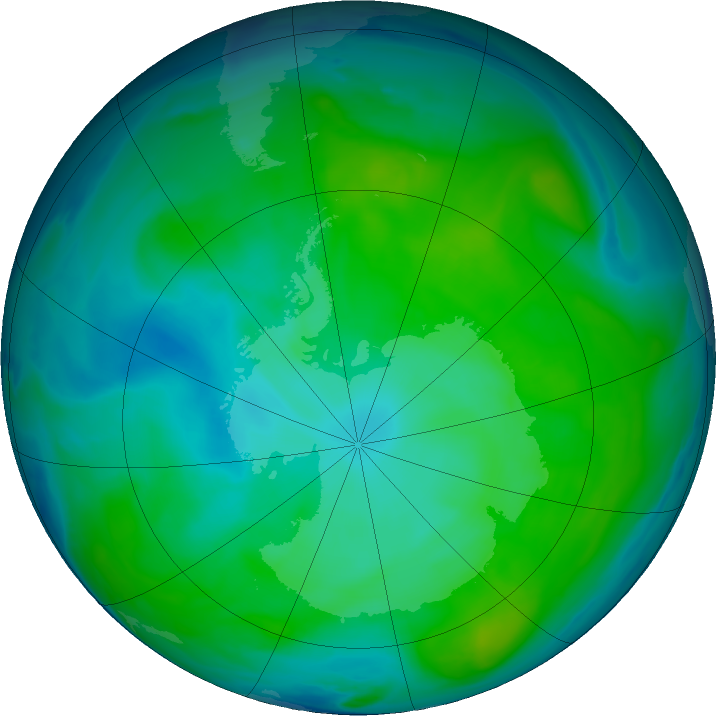 Antarctic ozone map for 07 January 2017