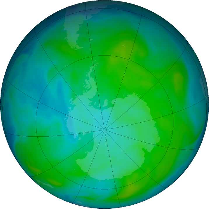 Antarctic ozone map for 08 January 2017