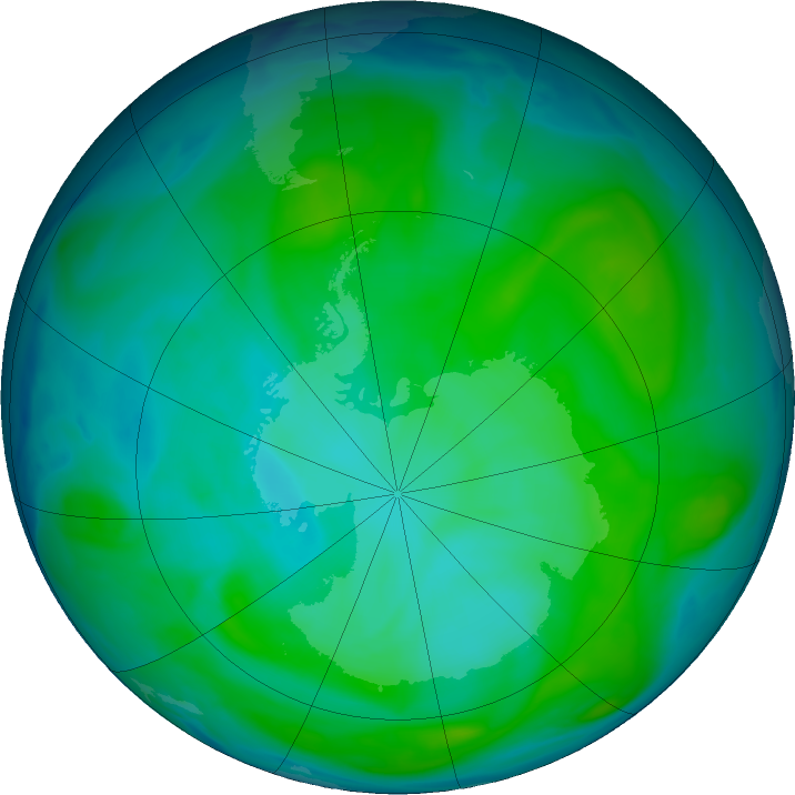 Antarctic ozone map for 10 January 2017