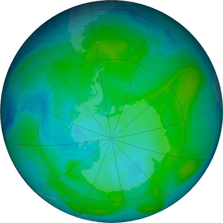 Antarctic ozone map for 11 January 2017
