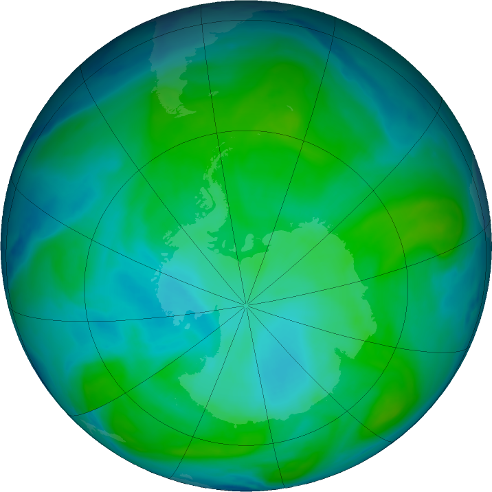 Antarctic ozone map for 12 January 2017