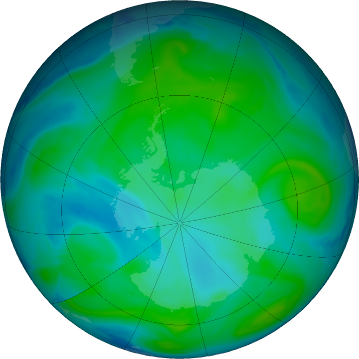 Antarctic ozone map for 13 January 2017