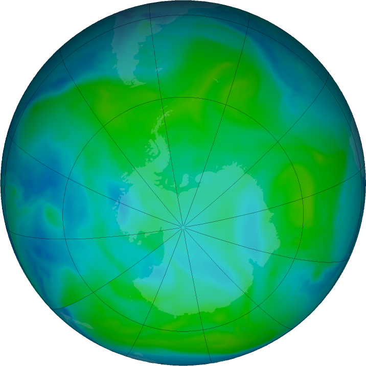 Antarctic ozone map for 15 January 2017