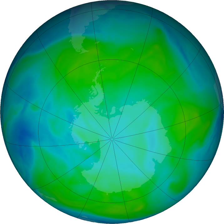 Antarctic ozone map for 16 January 2017