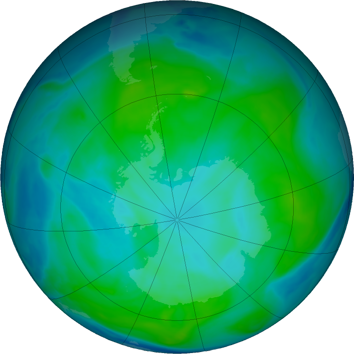 Antarctic ozone map for 17 January 2017