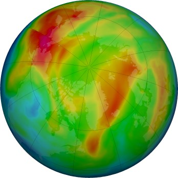 Arctic ozone map for 2017-01-18