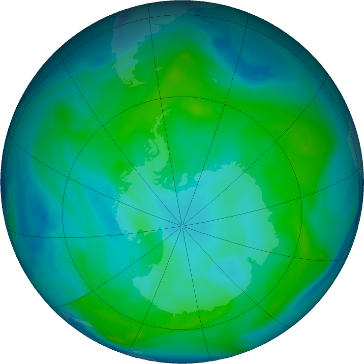 Antarctic ozone map for 18 January 2017