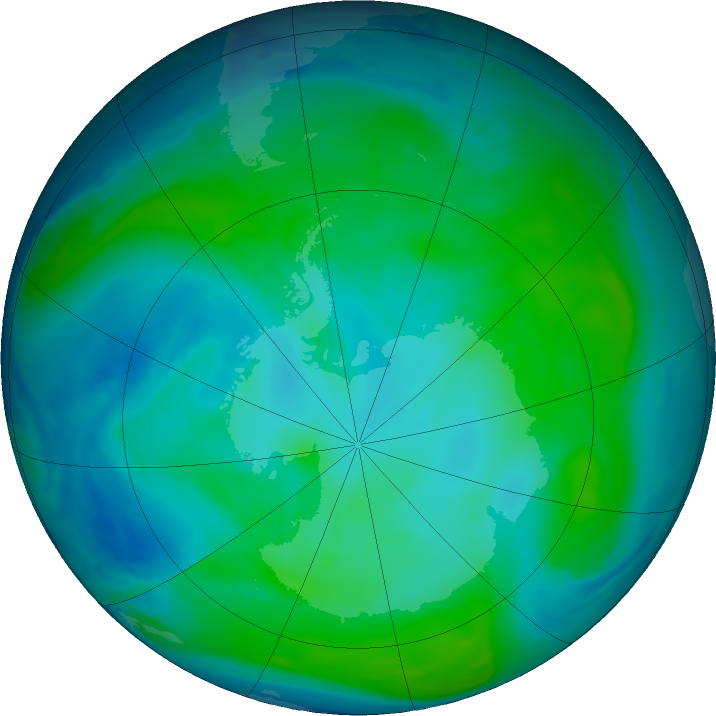 Antarctic ozone map for 22 January 2017