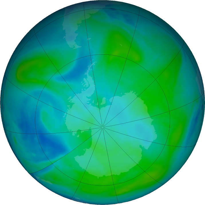 Antarctic ozone map for 25 January 2017