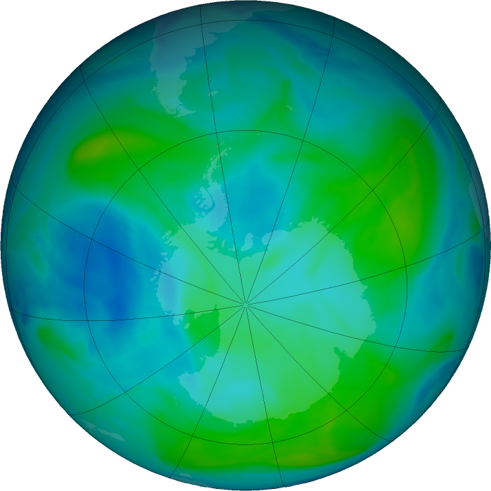 Antarctic ozone map for 28 January 2017