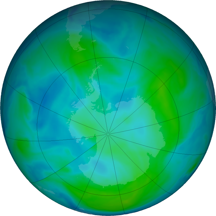 Antarctic ozone map for 30 January 2017