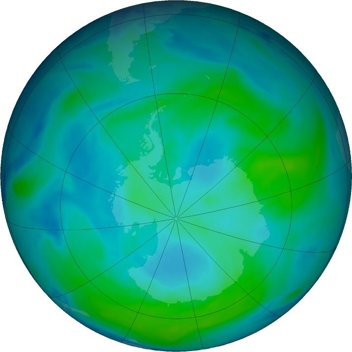 Antarctic ozone map for 01 February 2017