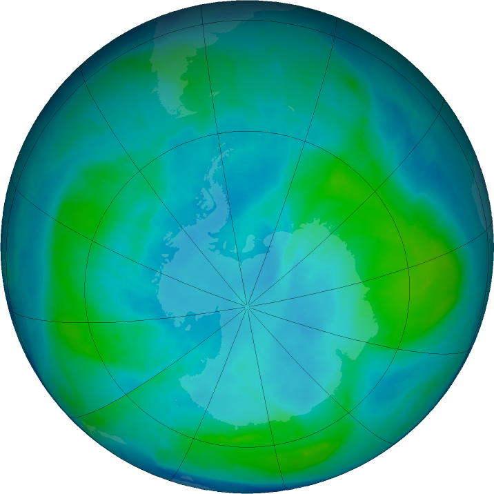 Antarctic ozone map for 09 February 2017
