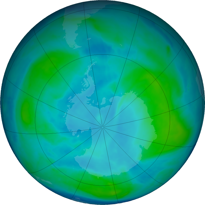 Antarctic ozone map for 10 February 2017