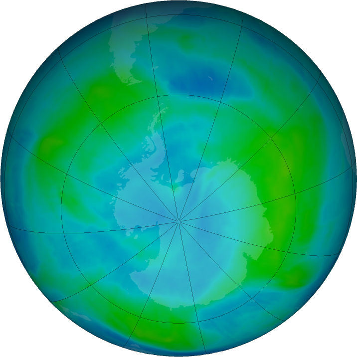 Antarctic ozone map for 11 February 2017