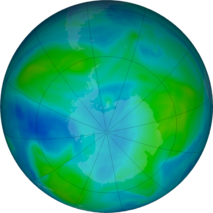 Antarctic ozone map for 13 February 2017