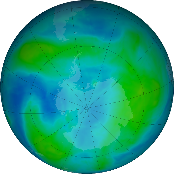 Antarctic ozone map for 14 February 2017