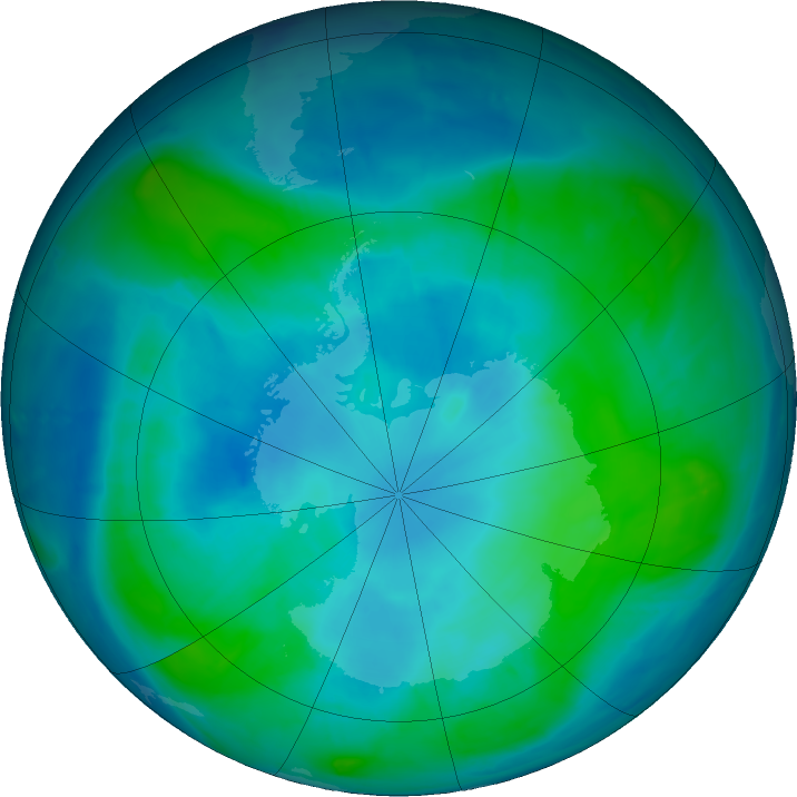 Antarctic ozone map for 15 February 2017