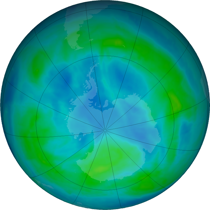 Antarctic ozone map for 05 March 2017