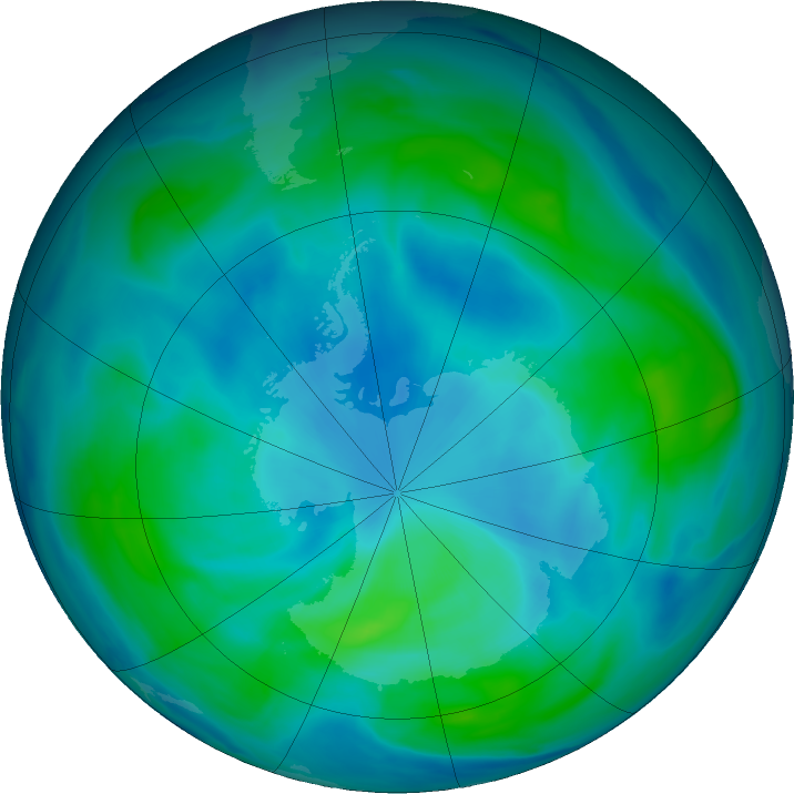 Antarctic ozone map for 06 March 2017