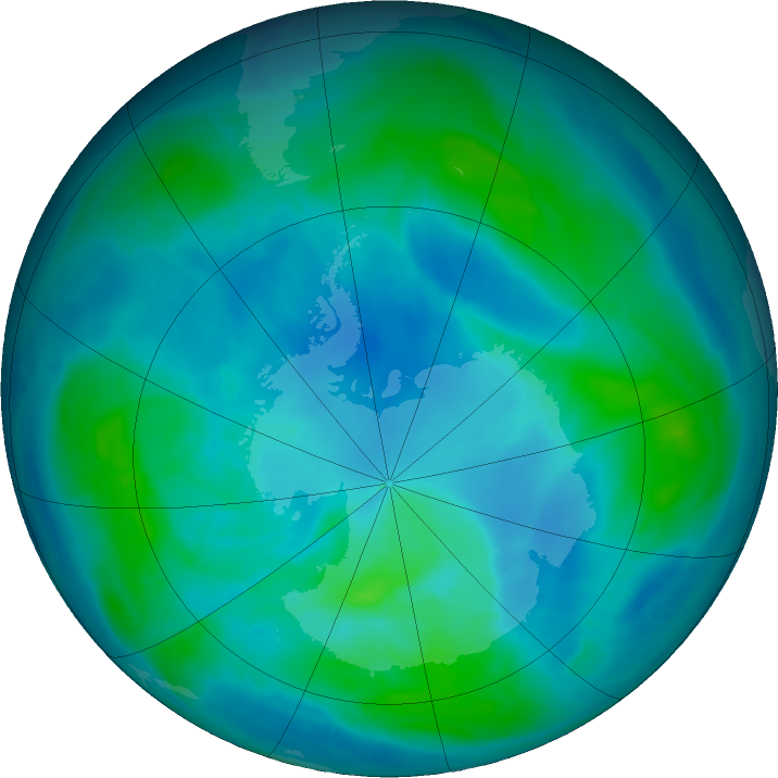 Antarctic ozone map for 07 March 2017