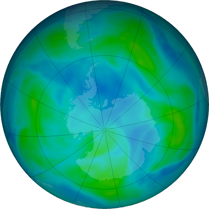 Antarctic ozone map for 08 March 2017