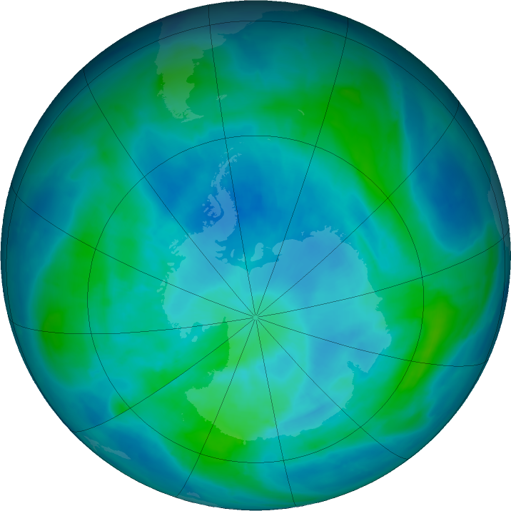 Antarctic ozone map for 09 March 2017