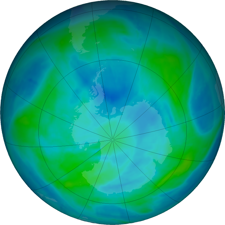 Antarctic ozone map for 10 March 2017