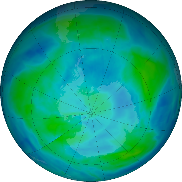 Antarctic ozone map for 11 March 2017